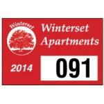 """Logo Imprinted White Vinyl Rectangle Parking Permit (3""""x 2"""")"""
