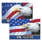 "3D Lenticular Sticker / Patriotic Images w/Text ""In God We Trust"" (Imprinted)(12""x8"") Custom Imprinted"