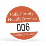 "Logo Imprinted Round White Vinyl Outside Parking Permit Decal (2 1/2"" Diameter)"