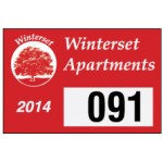 """White Reflective Rectangle Parking Permit Decal (3""""x 2"""") Custom Printed"""