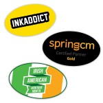 """Logo Imprinted Water Resistant Oval Custom Stickers (1.5"""" x 2.5"""")"""