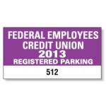 "Custom Imprinted White Vinyl Rectangle Parking Permit Decal (4 1/4""x 2 1/4"")"