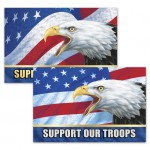 """Logo Imprinted 3D Lenticular Sticker / Patriotic Images w/Text """"Support Our Troops"""" (Imprinted) (6""""x4"""")"""