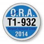 "Logo Imprinted 2 1/2"" White Vinyl Circle Parking Permit Decal"