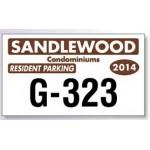 "Custom Printed White Vinyl Parking Permit Decal (4 3/4""x 2 3/4"")"