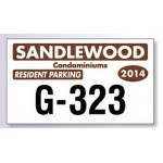 """Custom Printed White Reflective Parking Permit Decal (4 3/4""""x 2 3/4"""")"""