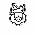 Pig w/Glasses Key Tag (Spot Color) Custom Printed