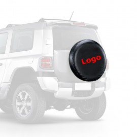 """Black PU Leather Spare Car Tire Cover for RV SUV Trailer Truck Wheel Fits 32"""" Diameter Logo Imprinted"""