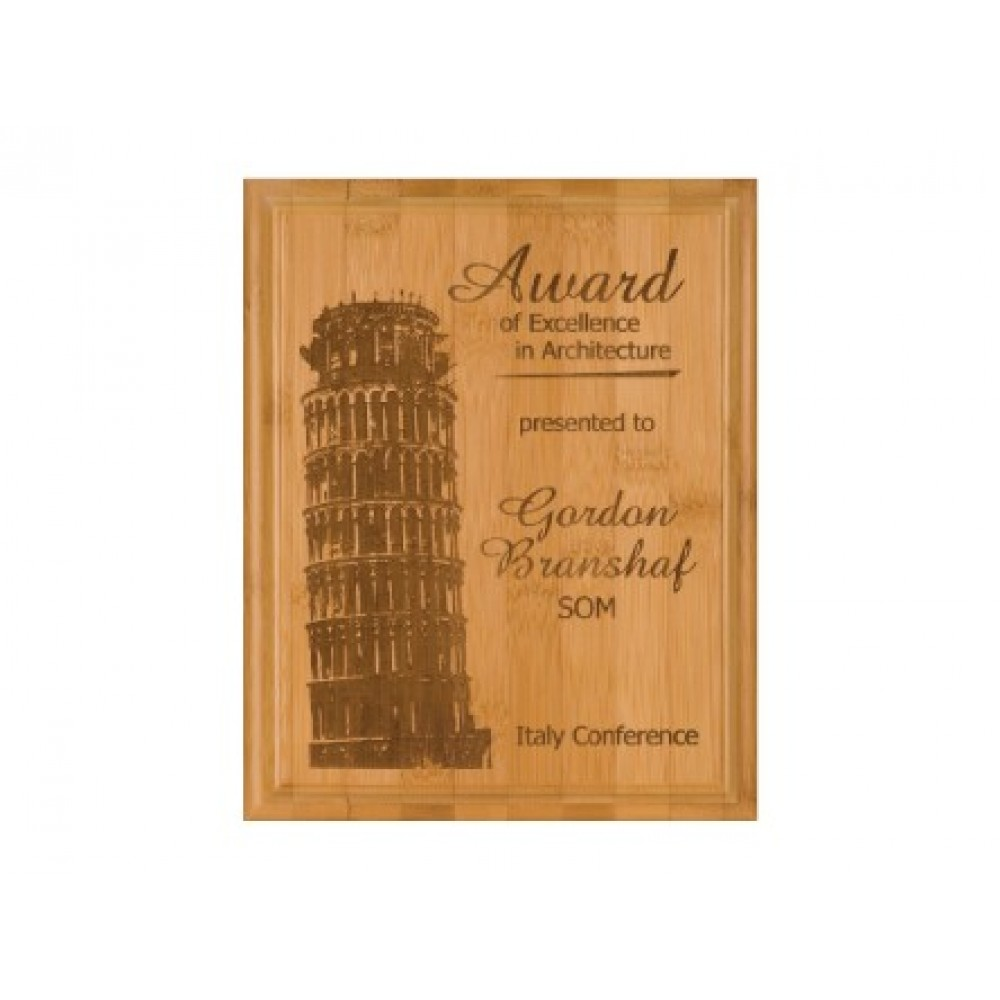Laser-etched Genuine Bamboo Plaque - XXLarge
