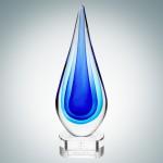 Logo Imprinted Art Glass Blue Teardrop Optical Crystal Award w/Clear Base (Small)