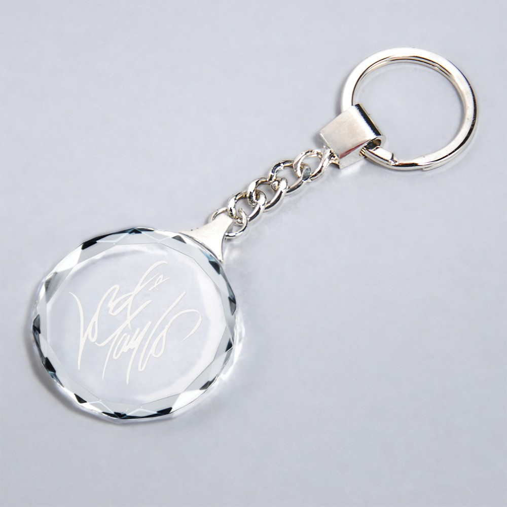 Logo Imprinted Clear Faceted Crystal Keychain