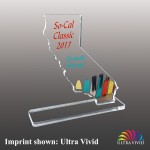 Custom Etched State of California Shaped Ultra Vivid Acrylic Awards - Small