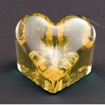 Logo Imprinted Citrus Yellow Wholehearted Award - Recycled Glass