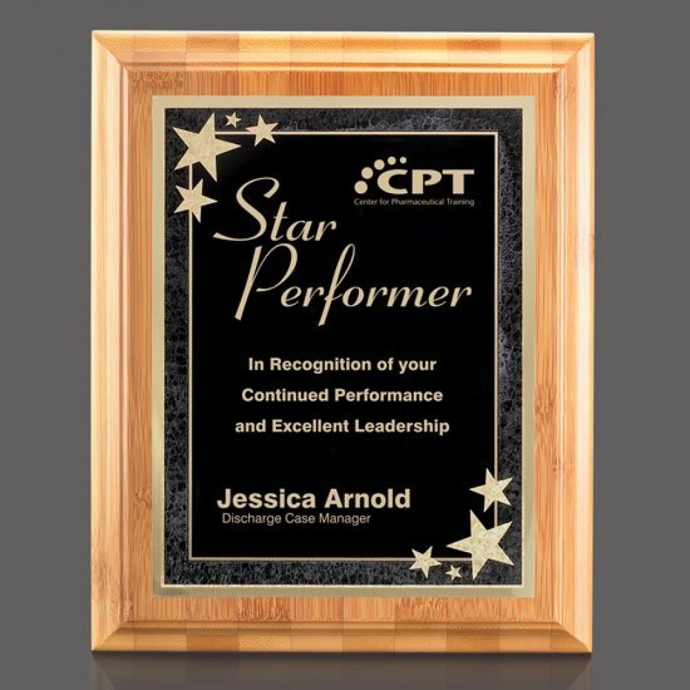 """Bamboo/Starburst Plaque - Bamboo/Black 8""""x10"""" Laser-etched"""