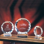 "Logo Imprinted 4"" Sunrise Crystal Award"