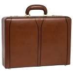 McKlein USA Turner Brown Leather Expandable Attache Case Logo Imprinted