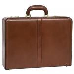Logo Imprinted McKlein USA Harper Brown Leather Expandable Attache Case