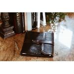 Imprinted Buffalo Padfolio - Onyx with Walnut Vachetta Trim