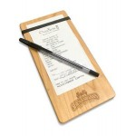 """Custom Printed 4"""" x 8"""" Solid Alder Check Presenter with 1 Band - 1/4"""" thick"""