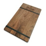 """Custom Imprinted 9"""" x 15"""" Walnut Menu Board with Rubber Bands - 1/4"""" Thick"""