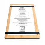 "Promotional 9"" x 13"" Solid Alder Menu Board with 2 Bands - 1/2"" thick"