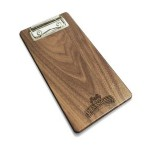 """Custom Printed 4"""" x 8"""" Solid Walnut Check Presenter with Clip - 1/4"""" thick"""