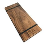 """Custom Printed 5"""" x 12"""" Solid Walnut Menu Board with 2 Bands - 1/2"""" thick"""