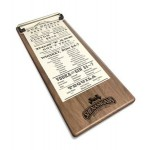 "Custom Imprinted 5"" x 12"" Solid Walnut Menu Board with Clip - 1/4"" Thick"