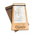 """Custom Printed 4"""" x 8"""" Solid alder Check Presenter with 1 Band - 1/2"""" thick"""