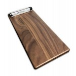 "Promotional 5"" x 12"" Solid Walnut Menu Board with Clip - 1/2"" thick"