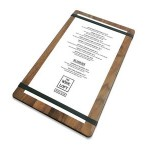 """Logo Printed 9"""" x 15"""" Solid Walnut Menu Board with 2 Bands - 1/2"""" thick"""