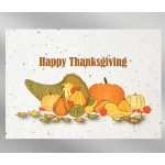 Custom Imprinted Thanksgiving Floral Seed Paper Holiday Card w/o Inside Message