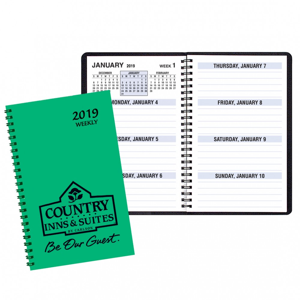 Large Print Weekly Desk Planners w/ TechnoColor Cover Custom Imprinted
