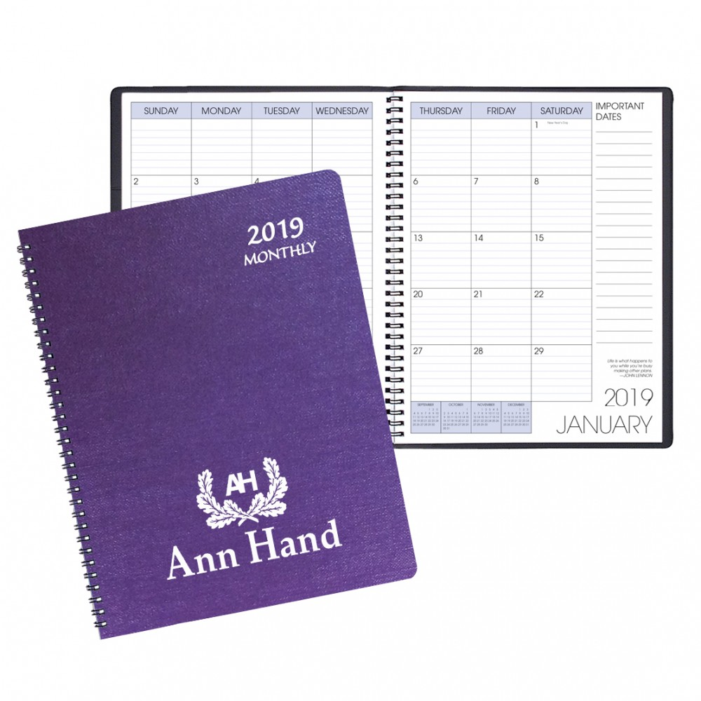 Monthly Desk Appointment Calendar/Planner w/ Illusion Cover Custom Imprinted