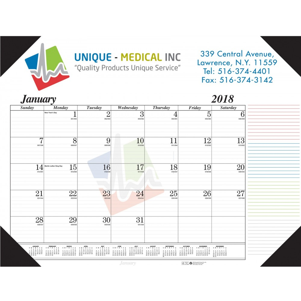 Desk Pad Calendar w/4-Leatherette Corners Custom Imprinted