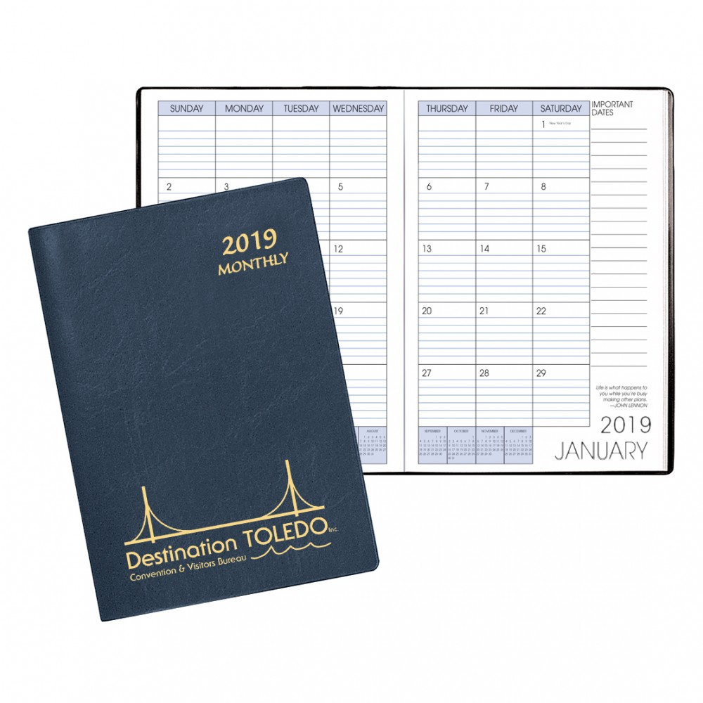 Monthly Desk Refillable Appointment Planner w/ Continental Vinyl Cover Logo Printed