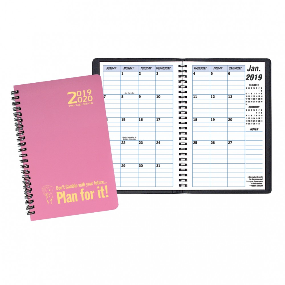 Branded Two Year Monthly Desk Planner w/ Twilight Cover
