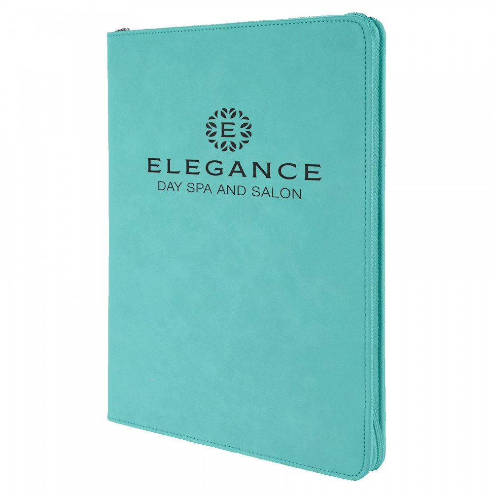 "9 1/2"" x 12"" Teal with Zipper Laserable Leatherette Portfolio with Notepad Custom Imprinted"