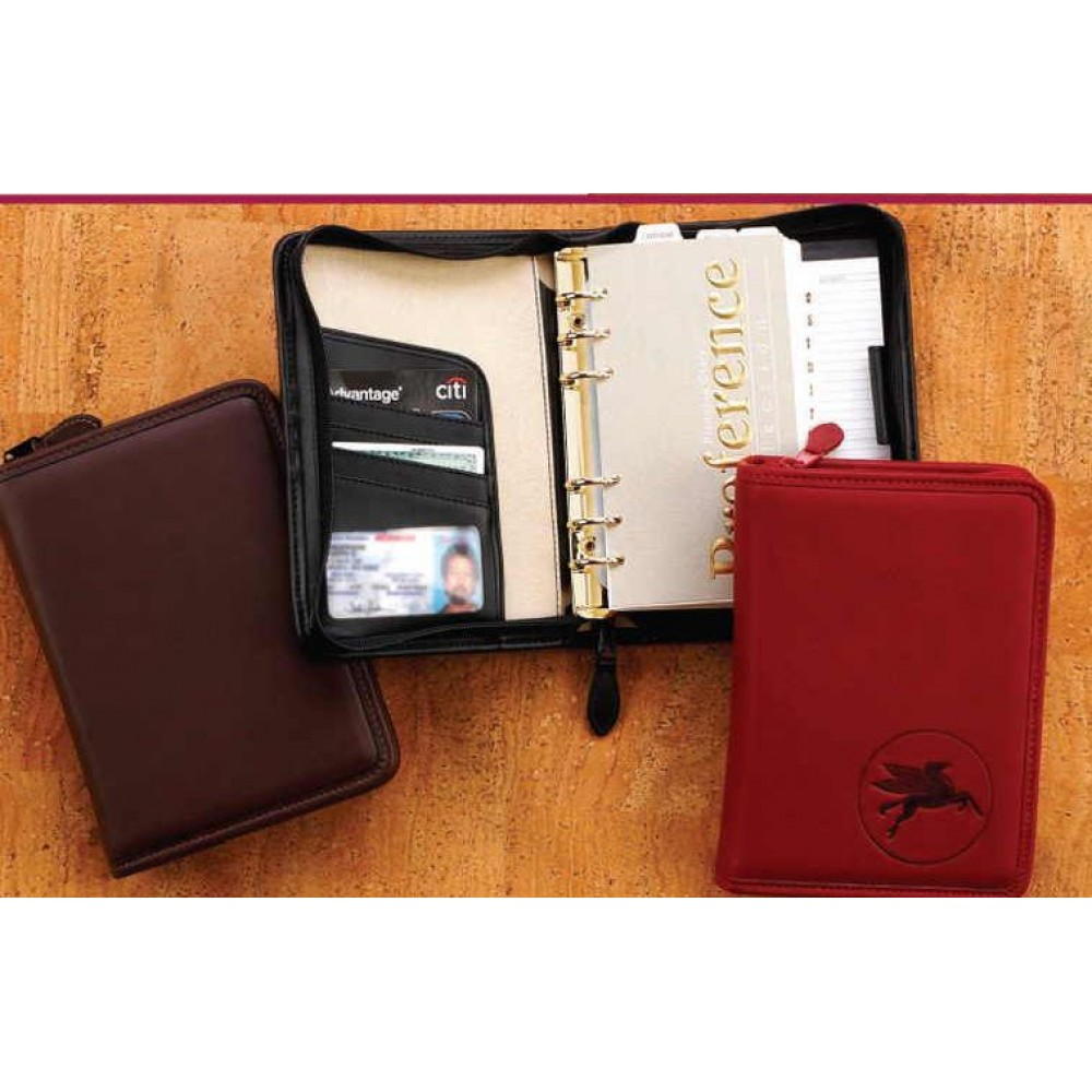 Business Leather Zippered Planner W/ 6 Rings Custom Printed