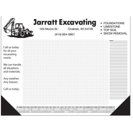 50 Sheet Deluxe Desktop Pad w/ Grid and Side Notes Logo Printed