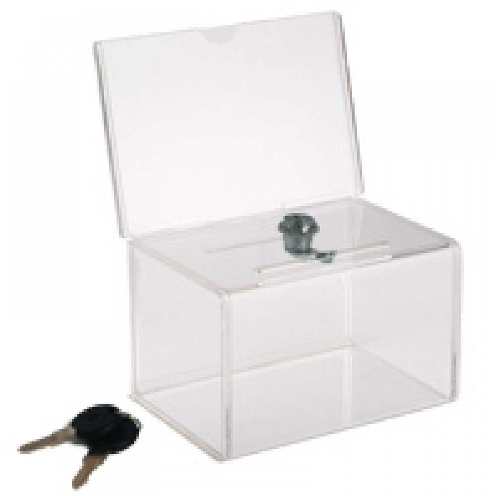 Branded Mini Locking Coin / Ballot Box with Sign Holder