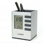 Branded Pen Holder With Clock