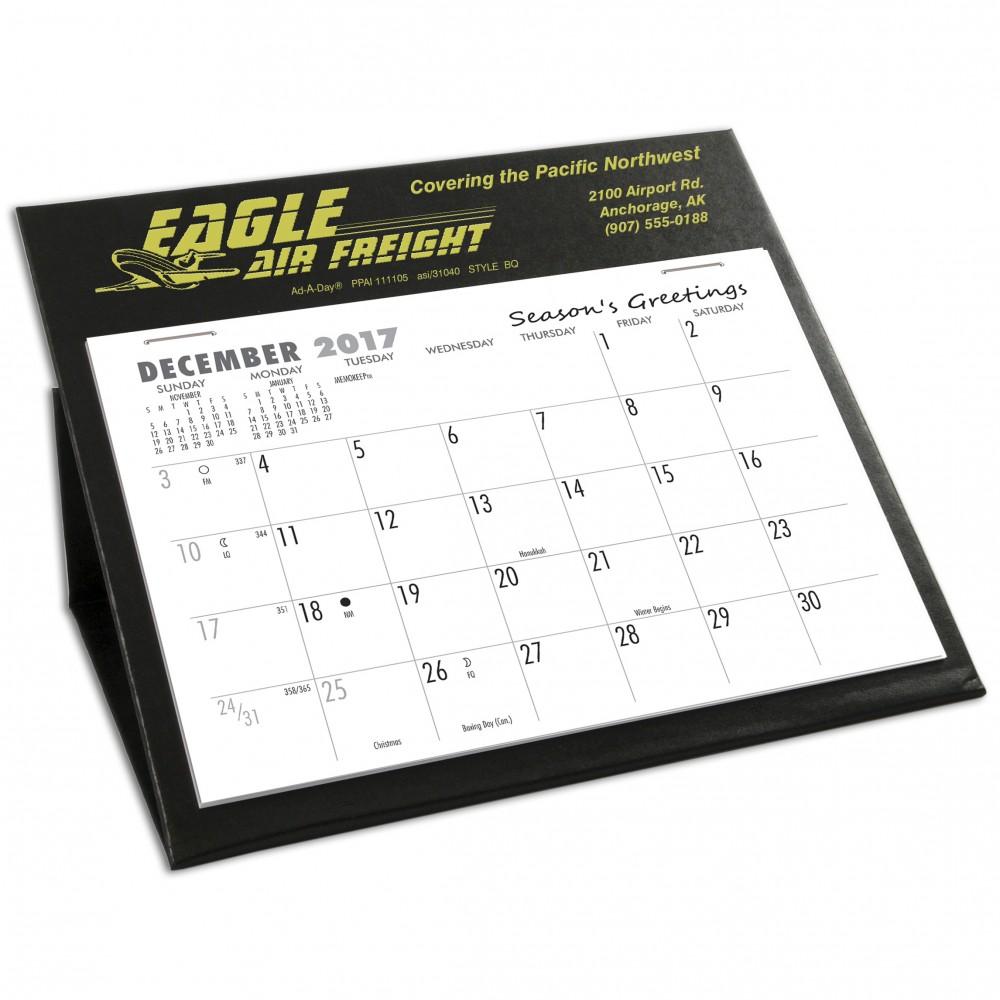 BQ Deskretary Desk Calendar with Organizer Base, Black Custom Imprinted