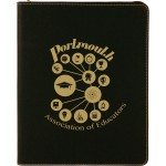 "9 1/2"" x 12"" Black/Gold with Zipper Laserable Leatherette Portfolio with Notepad Logo Printed"