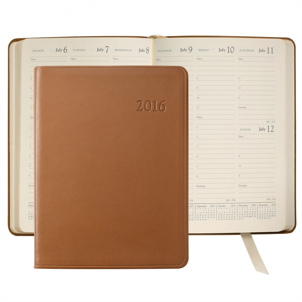 "Traditional Leather Desk Diary Datebook (7""x9 1/4"") Custom Printed"