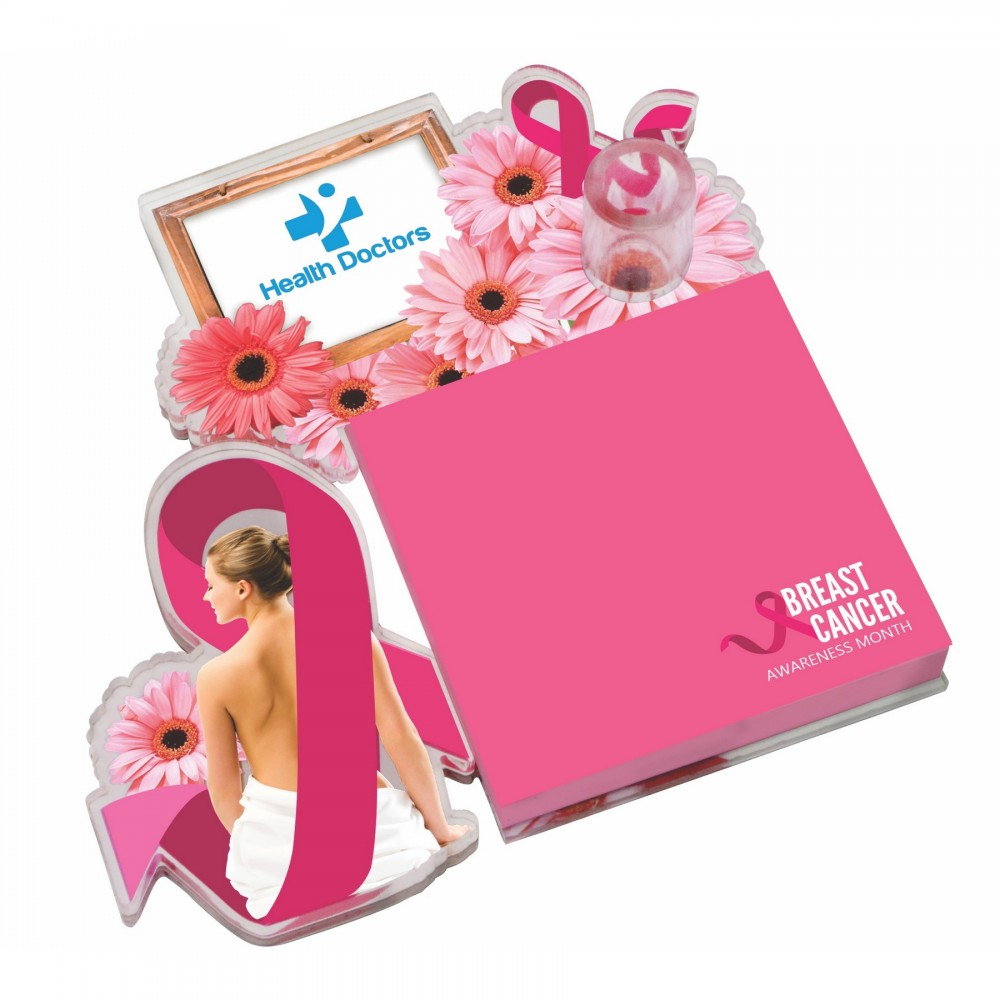 """Acrylic & Masonite Note Holder - 36"""" two tier note holder with 100 sheet coordinated notepad Custom Printed"""
