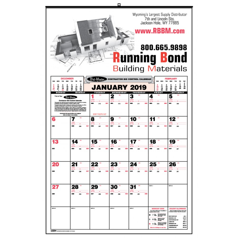 Bid Master Commercial Wall Calendar W 3 Color Imprint Custom Printed Bravamarketing Com Wall Calendars