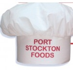 White Muslin Chef Hat w/Hook and Loop Back Logo Embroidered