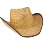 Trimmed Seagrass Straw Cowboy Hat Logo Embroidered