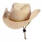 Logo Embroidered Sewn Braid Straw Cowboy Hat w/Chin Strap